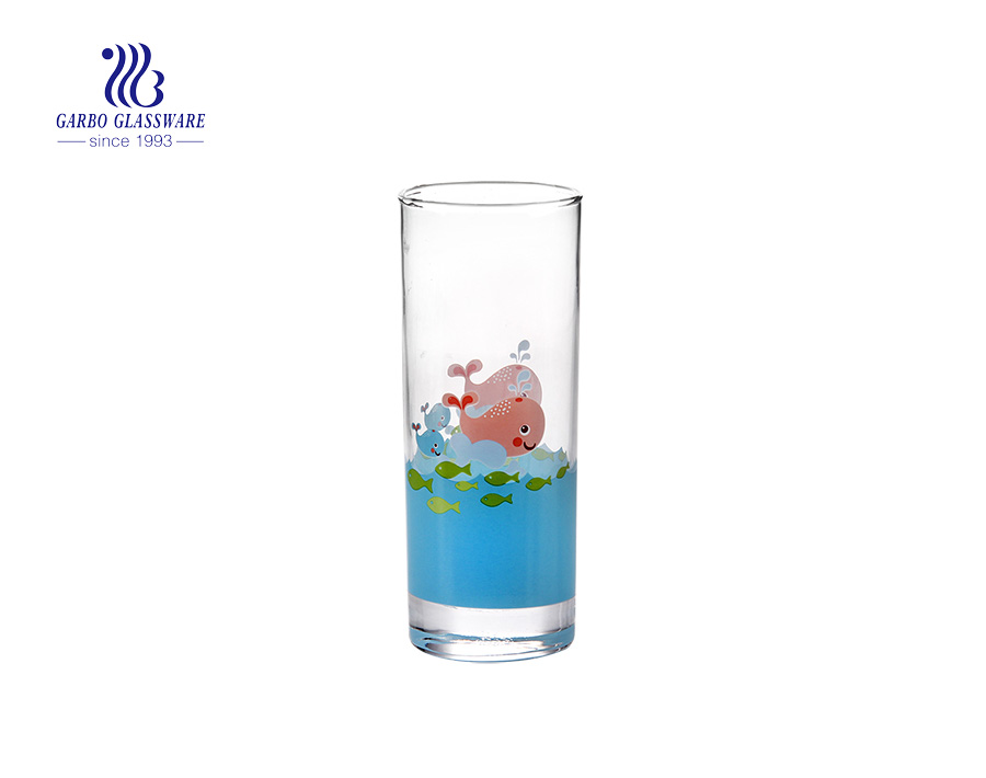 Customize decal 11oz 320ml long thin glass tumbler