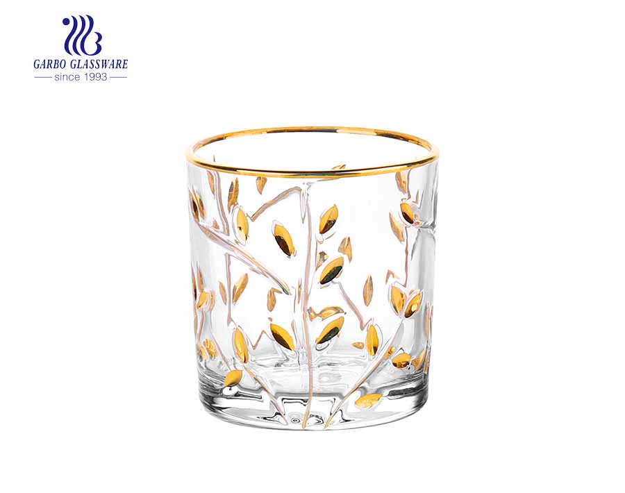 9oz cut whisky glass cup with gold rim and leaf design