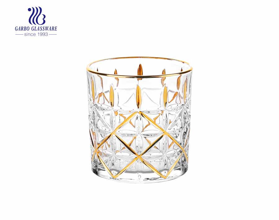 Crystal lead free gift whisky glass with flower gold design