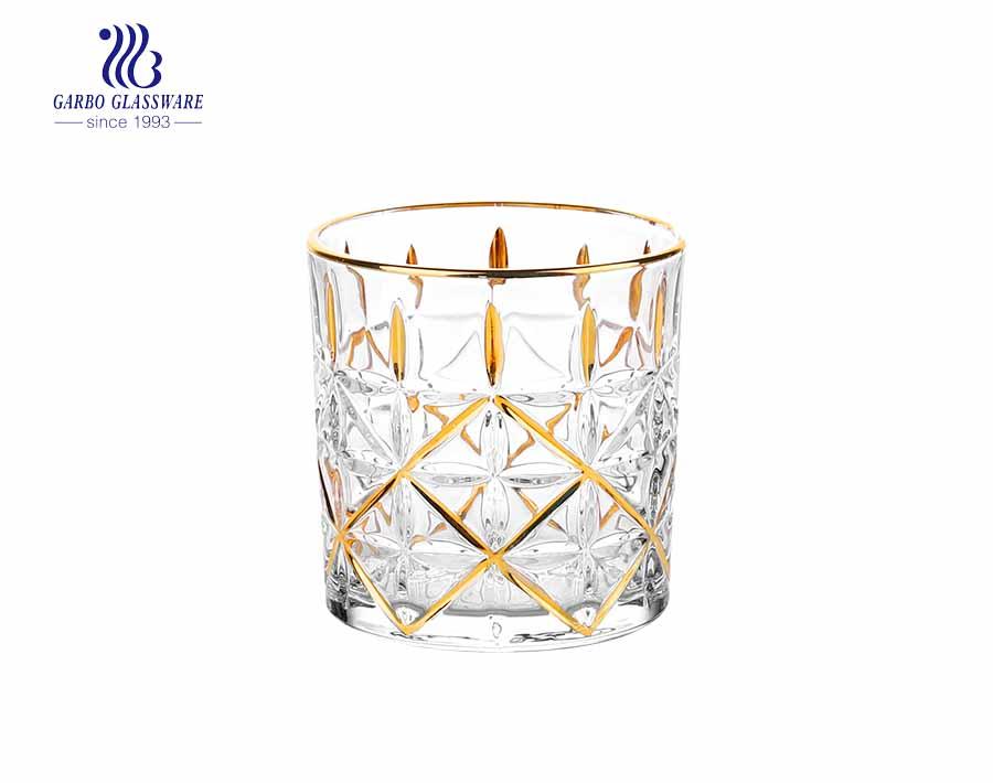 9 Unzen Whiskyglas Tasse mit Goldrand und Blatt Design