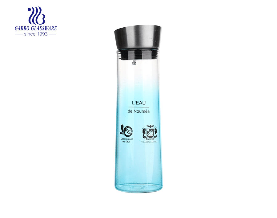 OEM logo heat resistant borosilicate glass carafe with stainless steel lid