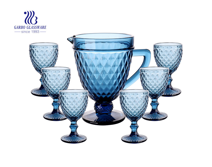 Set of 7PCS Blue Colored glass pitcher with goblets sets