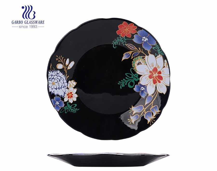 Flower Edge Round Shaped Black Opal Flat Plate