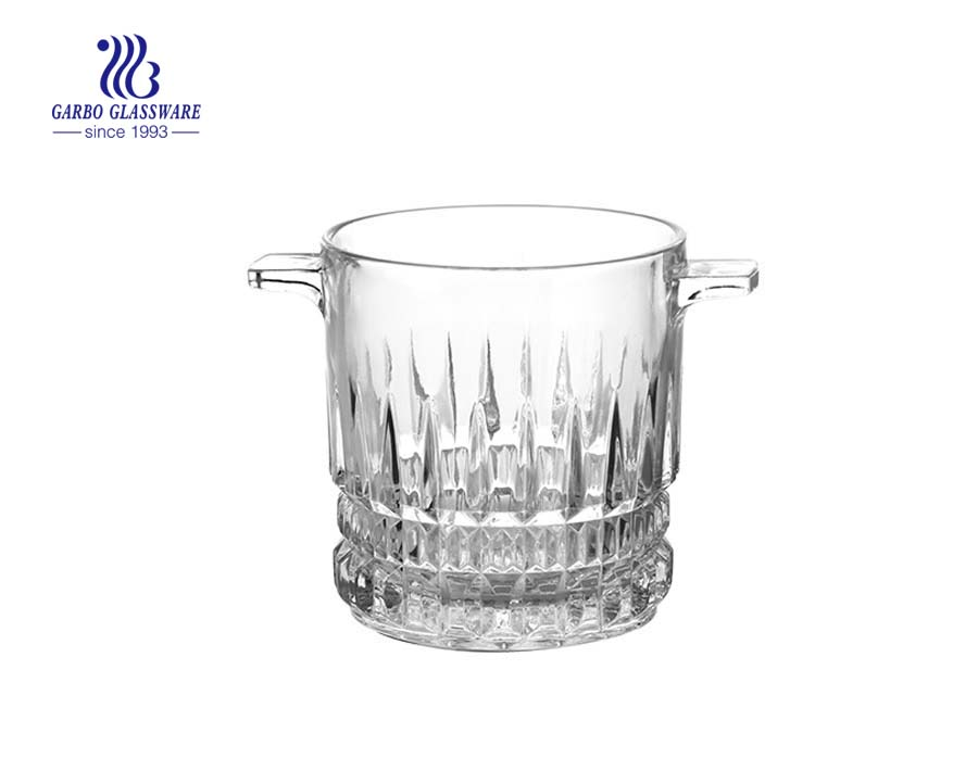 Big belly shape engraved glass ice bucket for wine