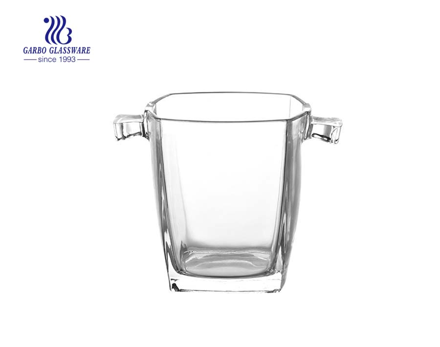 Square straight glass ice bucket with stainless steel handle