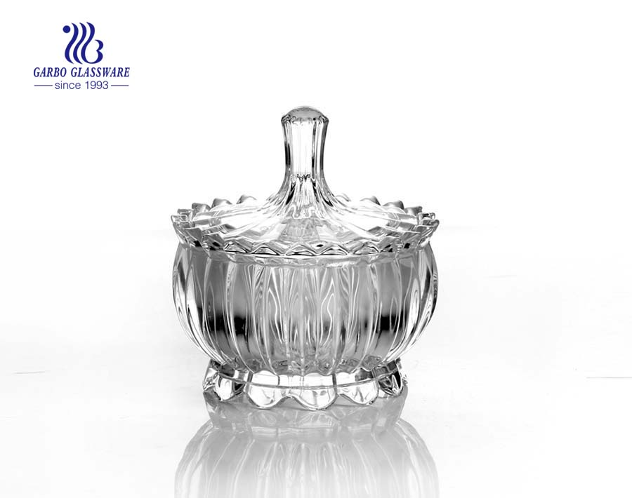 Decorative transparent crystal glass candy jars with glass lid