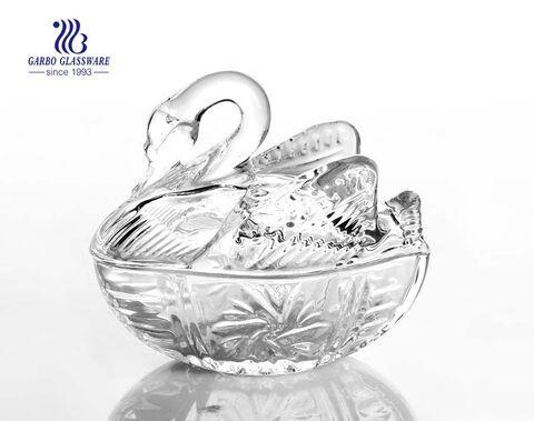 Neues Design Schwan Glas Hochzeitsgläser mit Deckel Candy Nuts Gläser