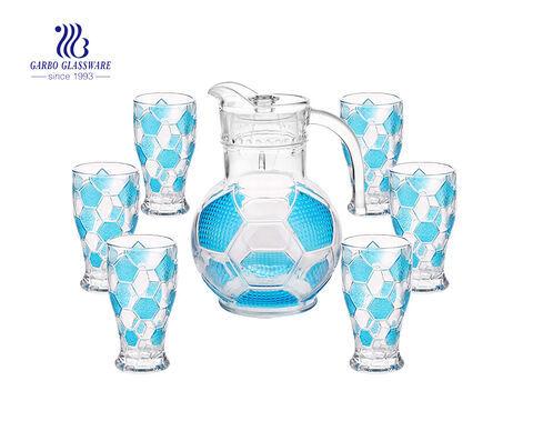 طقم ابريق ماء زجاجي مكون من 7 قطع مع نظارة ملونة