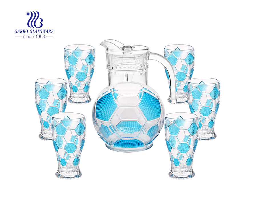Set of 7 football shape glass water jug with color glasses