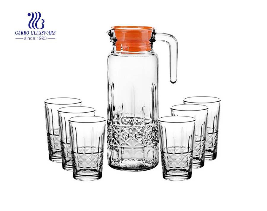 Garbo new design clear drinking glass set pitcher with cup set