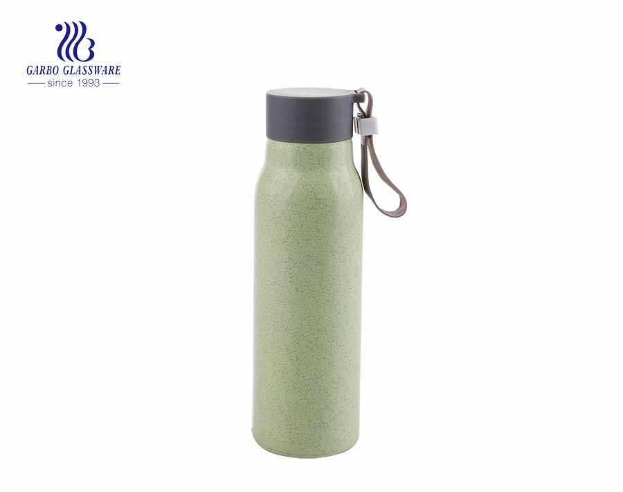 260ml Environmental Recycle Glass Water Bottle With Wheat Strew Cover
