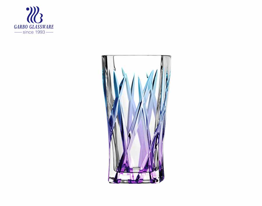 9oz waisted squared highball glass juice tumblers with purple blue color