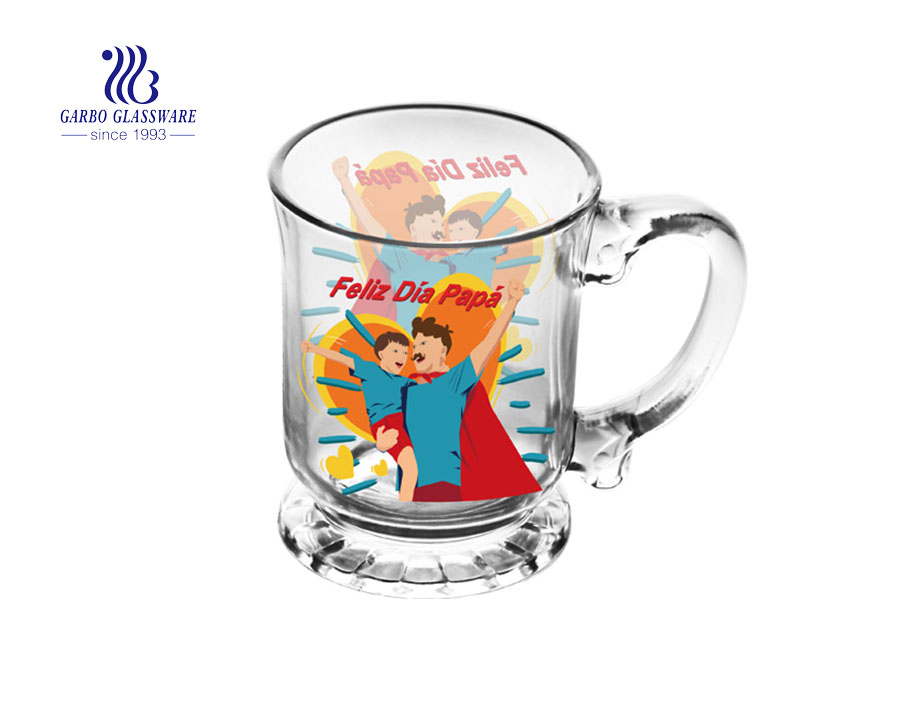 450ML glass tea mug with customized decal