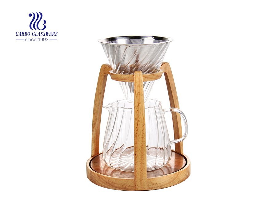 Bamboo base 304 stainless steel pyrex glass coffee maker set