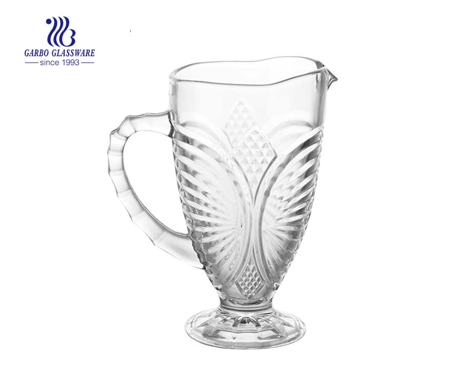 1L 1.5L in stock embossed glass pitcher glass jug