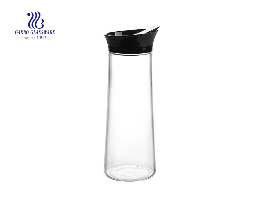 إبريق زجاجي بوروسيليكات عالي الجودة مع غطاء من الخيزران والفولاذ المقاوم للصدأ