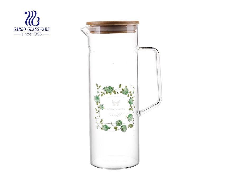 Luxus-Borglaskrug aus Borosilikatglas mit luftdichtem Bambusdeckel