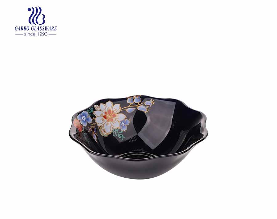 Placa de sopa de vidro Opal Series decalque 8 polegadas para o jantar