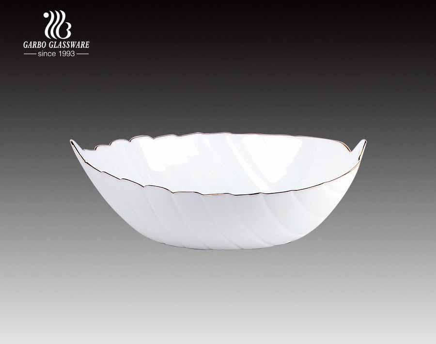 Tazón de vidrio opal blanco clásico lechoso en forma de hoja de 10.5 pulgadas