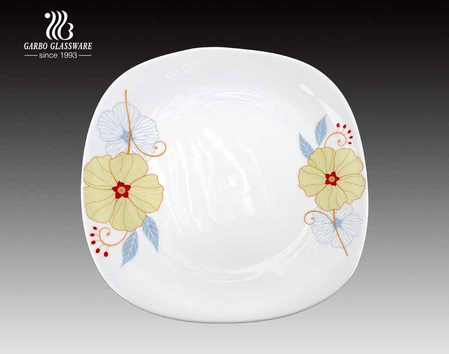 Fish Plate 12 inch Opal Glass Flate Plate With Decal Decoration