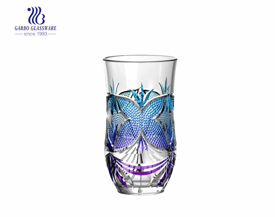 8oz customized butterfly spray blue purple colored highball juice tumblers