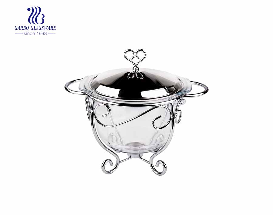Round big capacity pyrex glass baking bowl with stainless steel lid