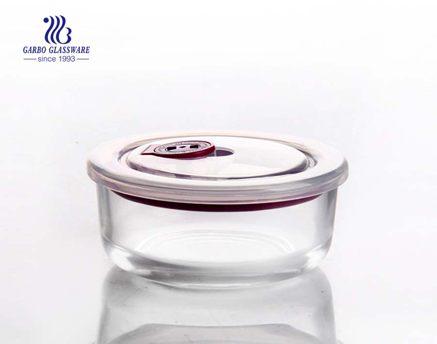 Round high borosilicate bowl pyrex glass lunch box