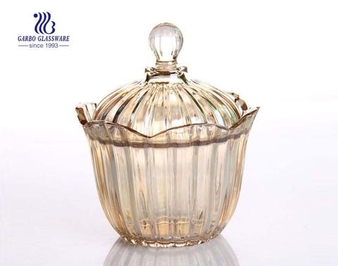Precio de fábrica de 6 pulgadas Ion Plating Glass Jar Candy Candy Jar Glass Glass