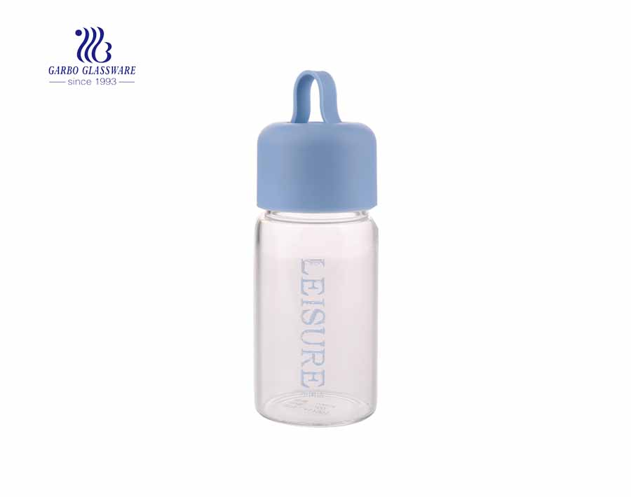 Colorful PP lid 360ml pyrex glass water bottles with custom logo