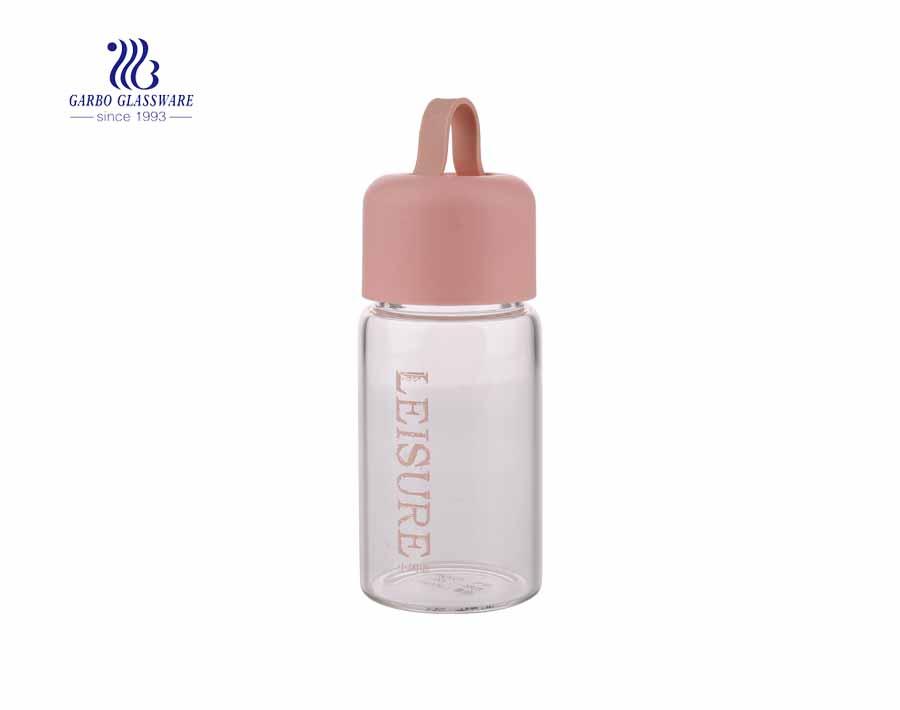 Botellas de agua de vidrio pyrex con tapa de PP de 360 ml de colores con logotipo personalizado