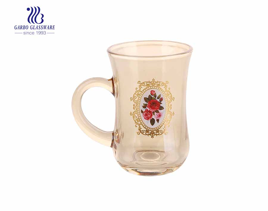 Ion Plated Glass Coffee Mug With Customized Design