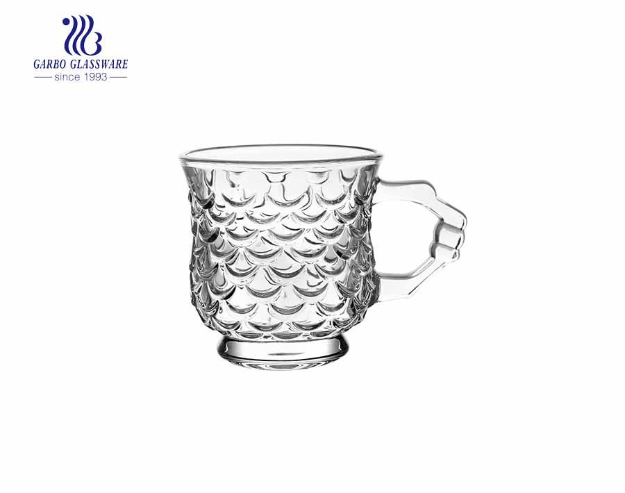 420ml Glass Coffee Mug With Gold Rim And Fancy Design