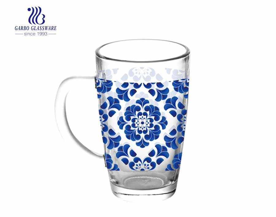 370ML Glass Beer Mug With Customized Decal
