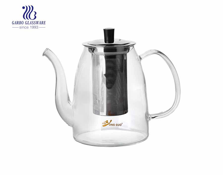 Bán buôn ấm trà thủy tinh Pyrex 1.2L làm thủ công ấm trà thủy tinh pyrex
