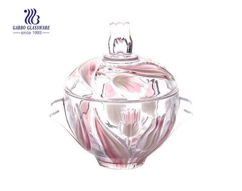 Tarro de caramelo de vidrio de diseño de flores de color rosa transparente transparente de 7 pulgadas