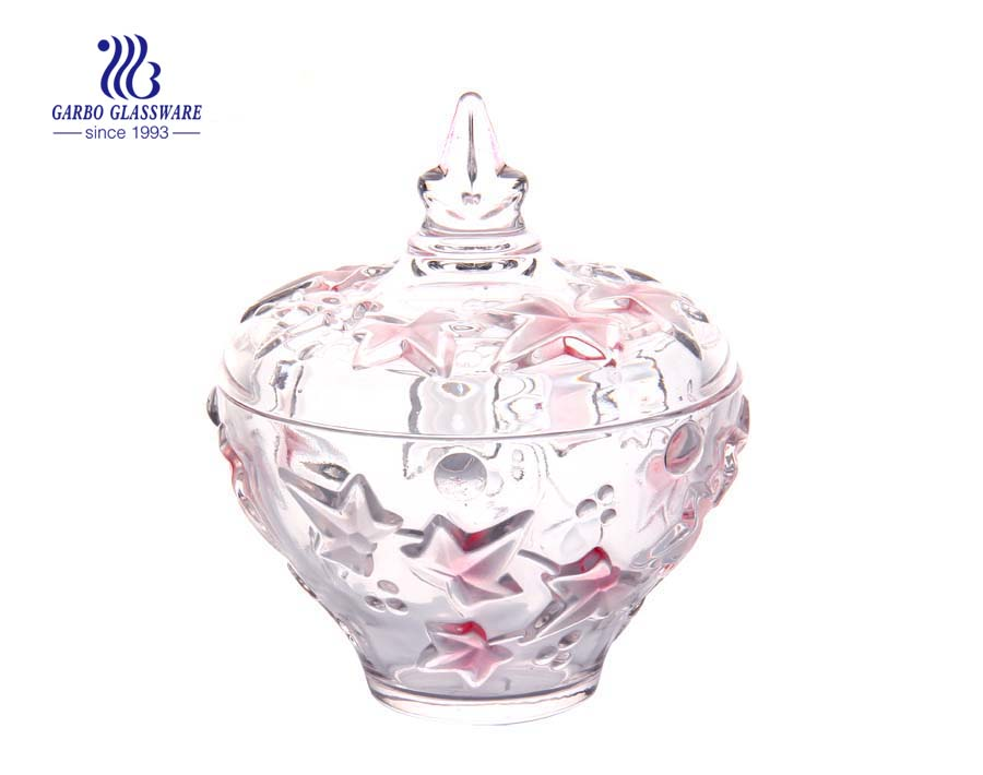 7 Inch Transparent Pink spray color Flower Design Glass Candy Jar