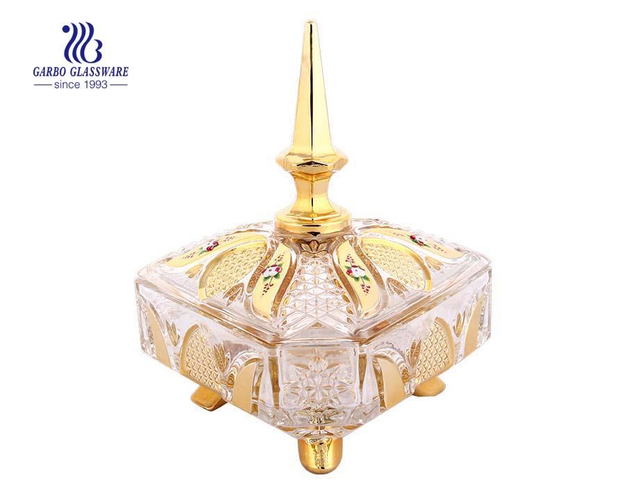 وعاء زجاجي مطلي بالذهب ، بقياس 6.5 انش ، بغطاء