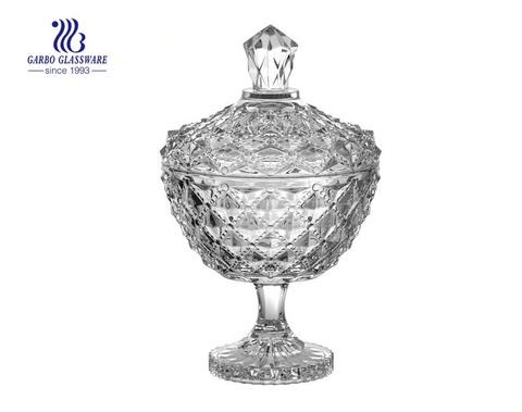 6.1 Zoll gravierte Dimond Design Glas Candy Pot Gläser mit Rangliste