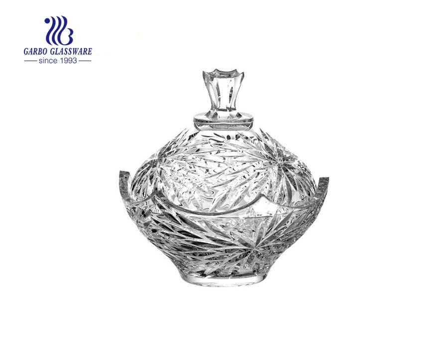 6.1 inch engraved dimond design glass candy pot jars with standings