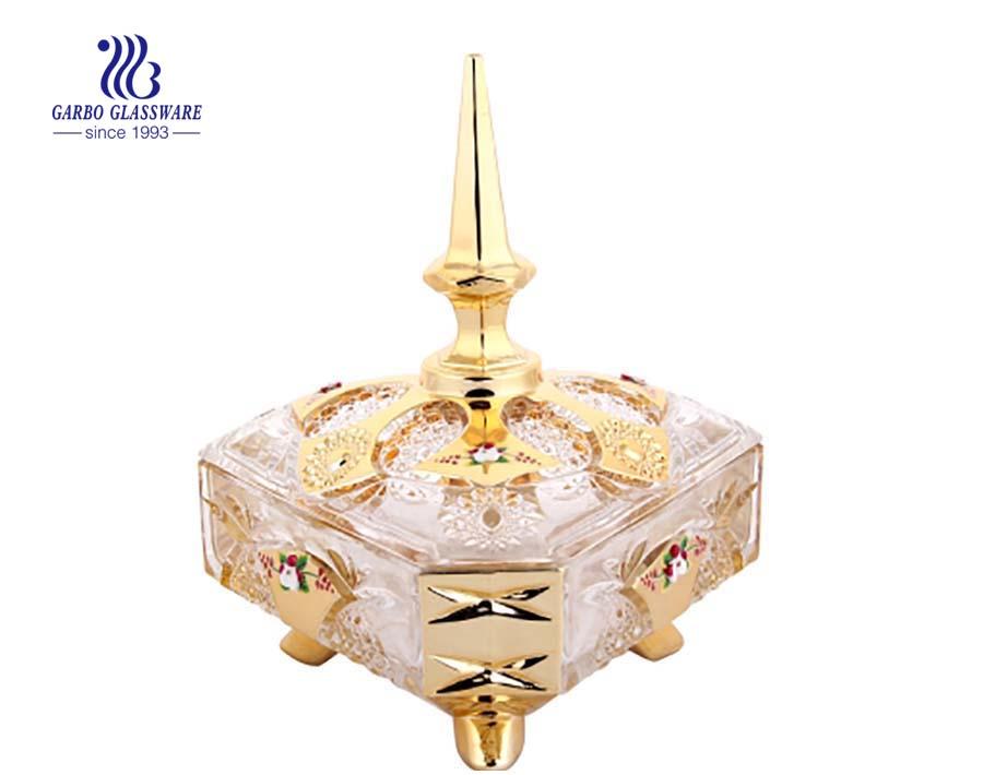 Hot sale Diamand shape golden plating candy pot glassware