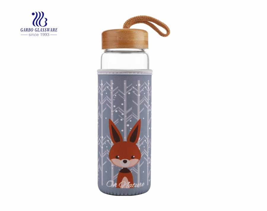 Heat Resistant Hot Water Tea Glass Bottle With Designed Fabric Cover
