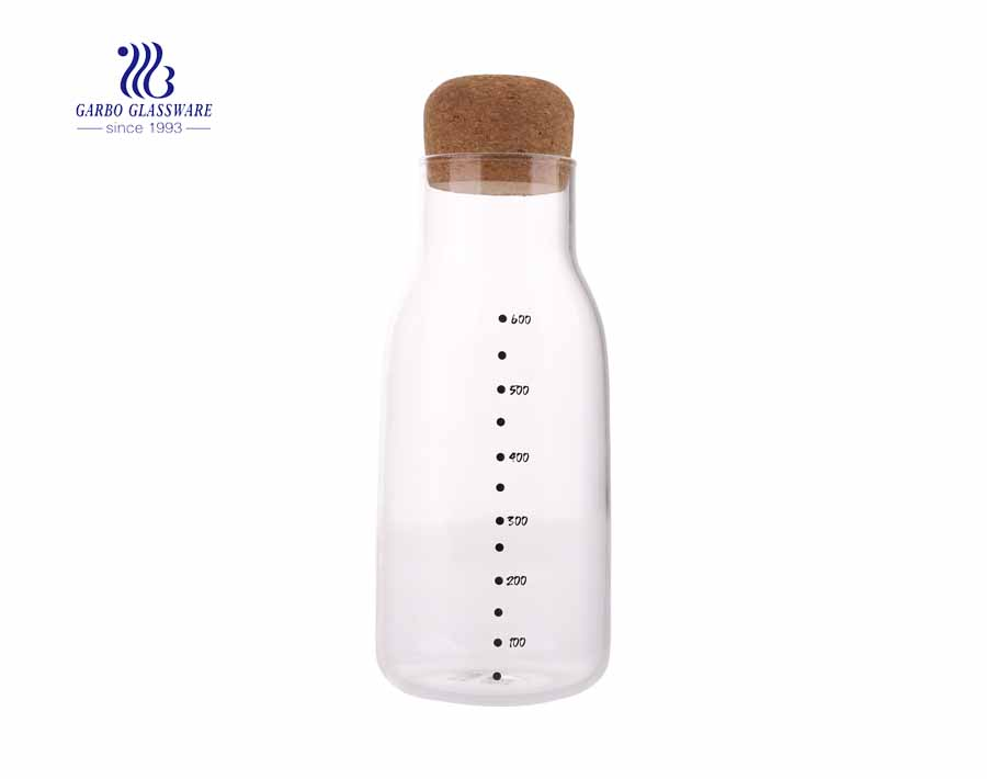 800ml Measure Water Pyrex Glass Milk Bottle With Wood Lid