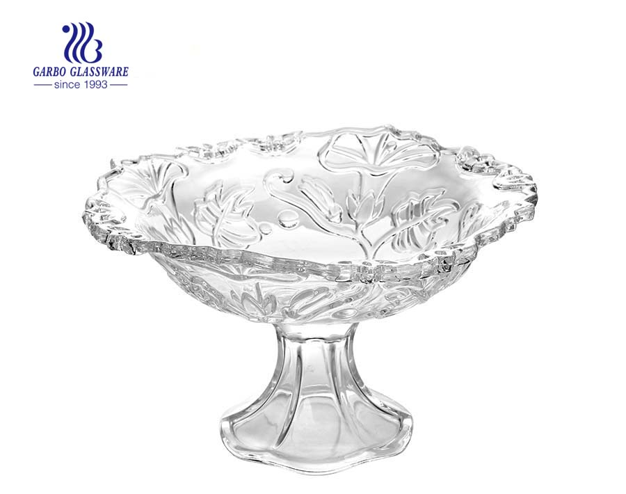 10.71'' Clear Glass Bowl with stand for Fruit Serving