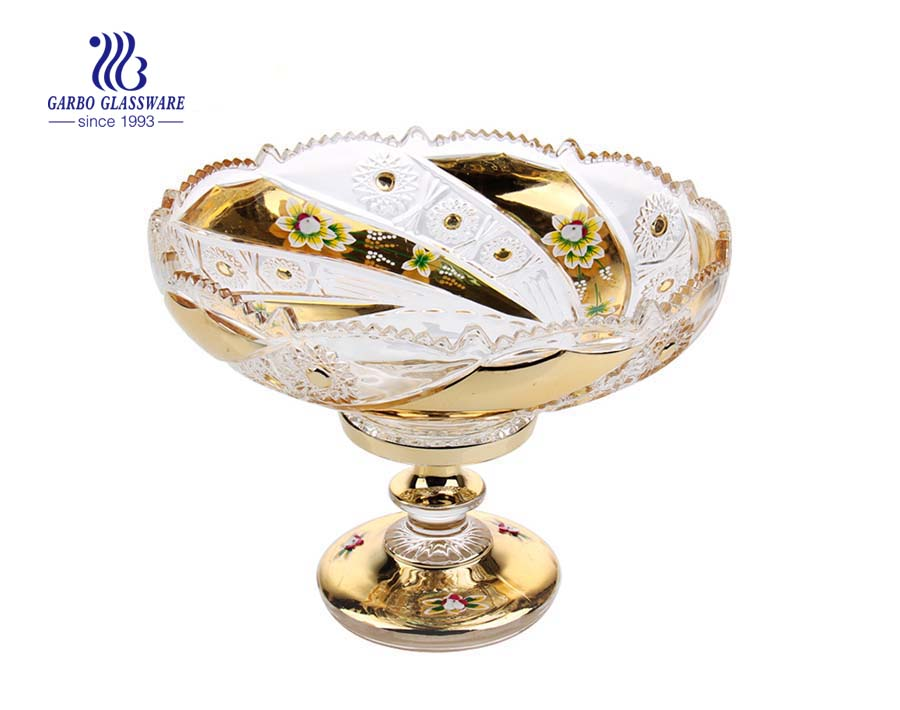 10.83'' Glass Plate with Golden Planting & Ceramic flower