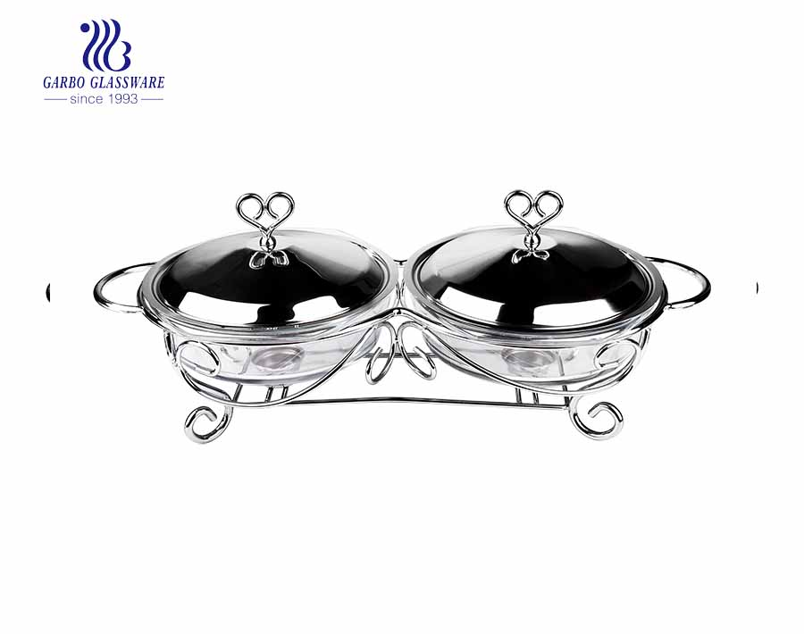 2Liter Twins glass baking pan set with 304 holder and lid