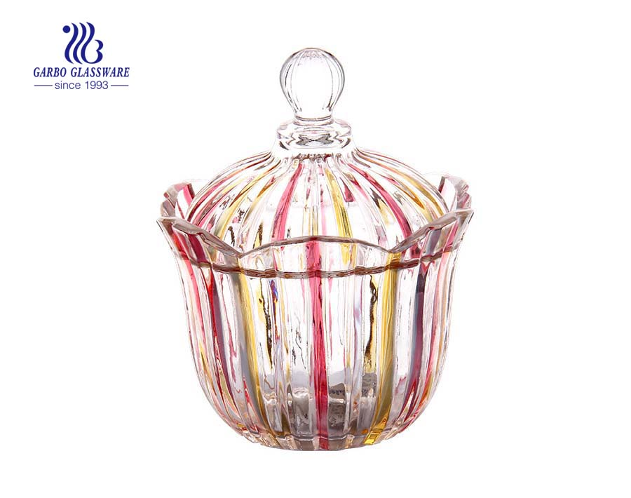 5.2 inch high quality  spary color glass sugar jar for wedding decoration