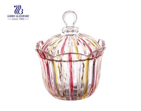 5.2 Zoll hochwertige Spary Color Glas Zuckerglas für Hochzeitsdekoration