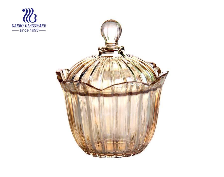 5.2 polegadas de alta qualidade spary cor de vidro de açúcar jar para decoração de casamento