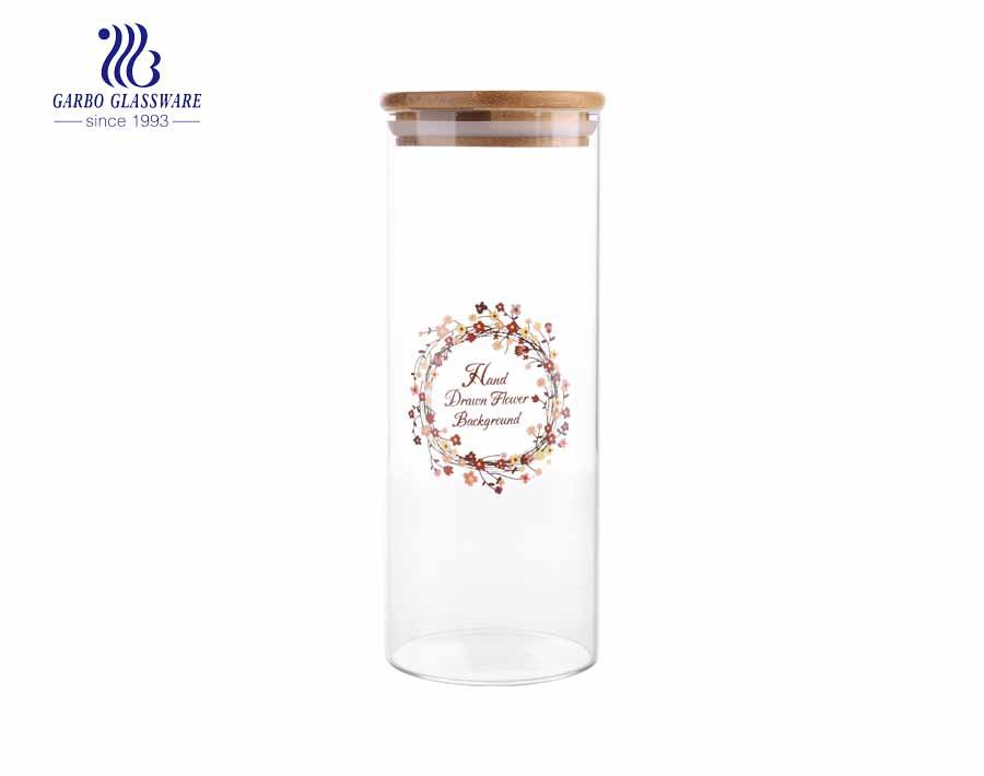 880ml LFGB certification bamboo lid pyrex glass storage jar wholesale