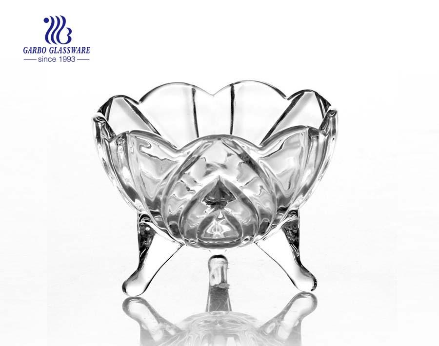 3.8 Zoll kleine Großhandel drei Fuß Glas Candy Pot Glas ohne Deckel